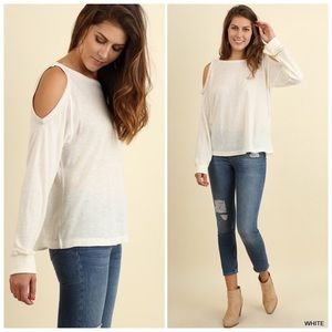 White Long Sleeve Cold Shoulder Blouse S/M/L